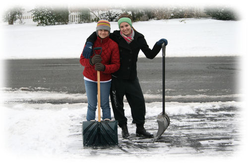 Snow shoveling with border