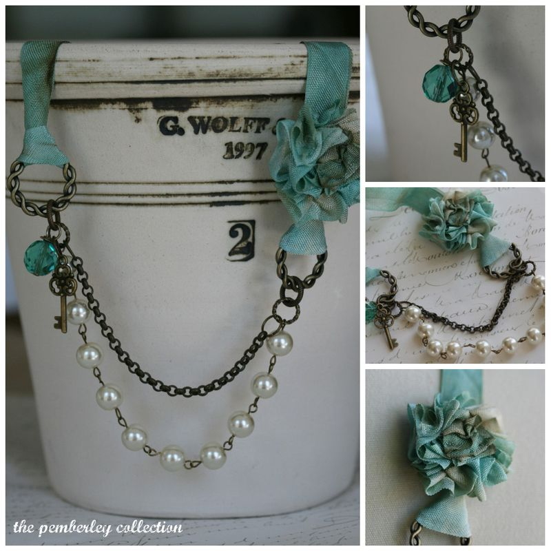 Aqua necklace collage