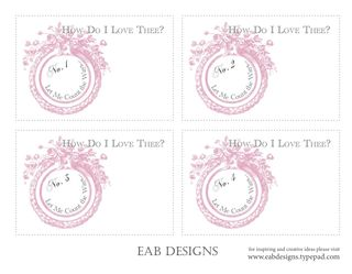 Valentine cards numbered proof