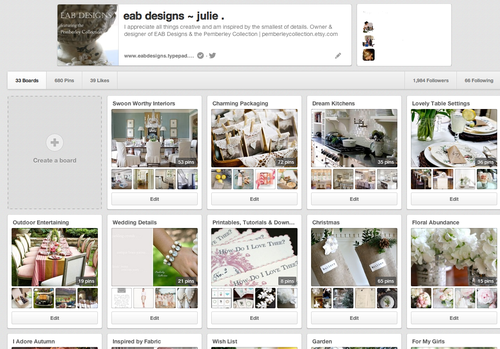 Julie _ EAB Designs Pinterest Boards