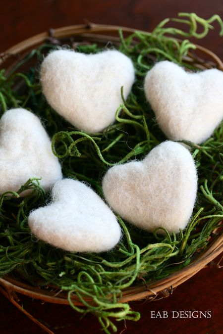 EAB DESIGNS ivory felted hearts 1