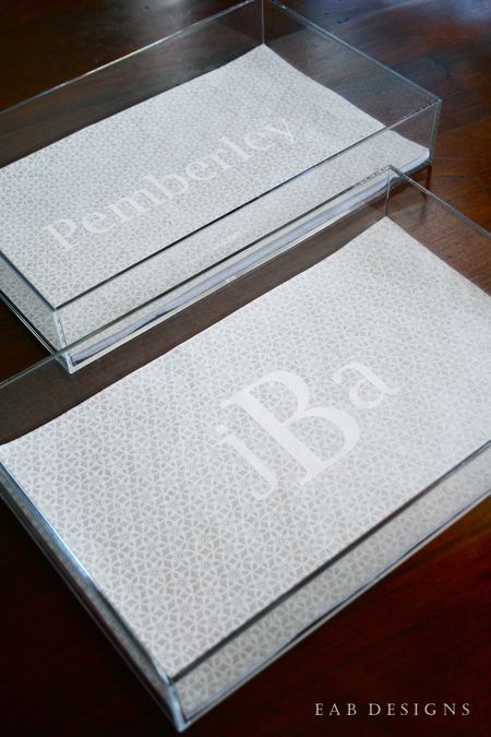 EAB DESIGNS monogrammed lucite tray 1